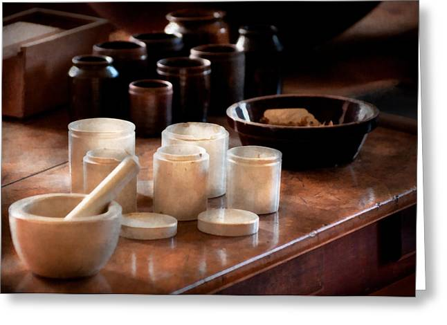 Drug Stores Greeting Cards - Pharmacist - Pestle and cups Greeting Card by Mike Savad