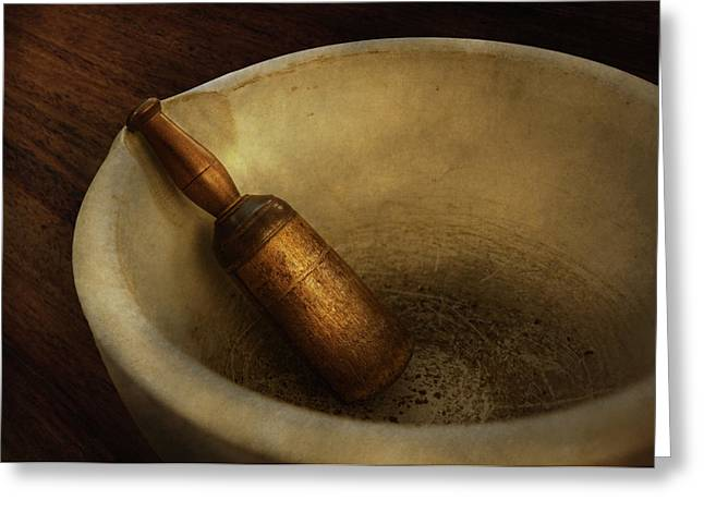 Medication Greeting Cards - Pharmacy - Pestle - Mortar Grinder  Greeting Card by Mike Savad