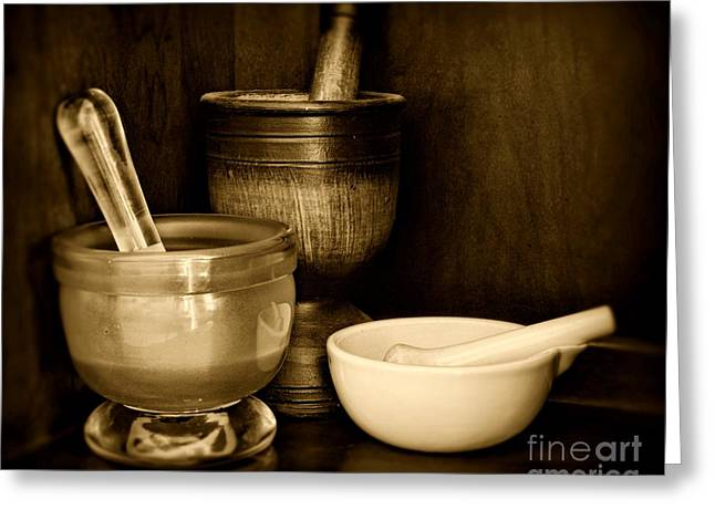 Medication Greeting Cards - Pharmacy - Mortars and Pestles - black and white Greeting Card by Paul Ward