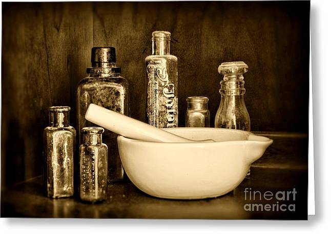 Medication Greeting Cards - Pharmacy- tools of the trade - black and white Greeting Card by Paul Ward