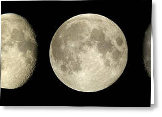 Moon Surface Greeting Cards - Phases Of The Moon Greeting Card by Pekka Parviainen