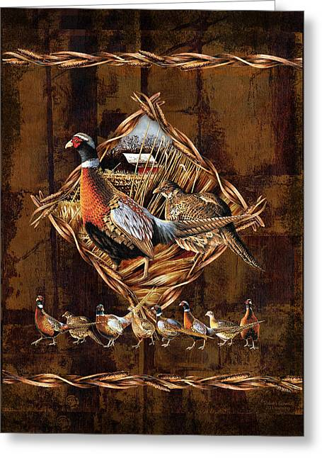 Corn Paintings Greeting Cards - Pheasant Lodge Greeting Card by JQ Licensing