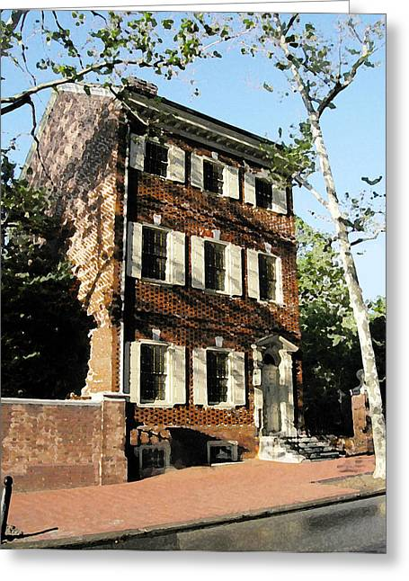Phillies Mixed Media Greeting Cards - Phiily Row House 1 Greeting Card by Paul Barlo