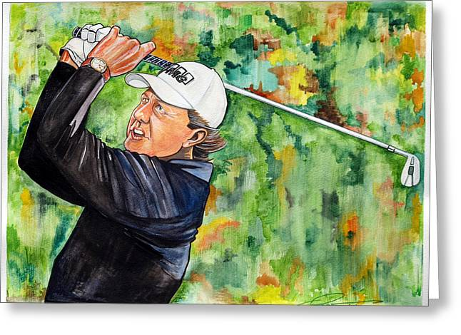 Us Open Golf Drawings Greeting Cards - Phil Mickelson Greeting Card by Dave Olsen