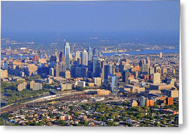 Phillies Photographs Greeting Cards - Philadelphia Aerial  Greeting Card by Duncan Pearson