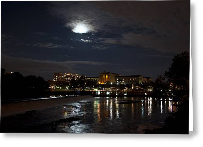 Philadelphia Art Museum Greeting Cards - Philadelphia Art Museum and Waterworks under a Full Moon Greeting Card by Bill Cannon