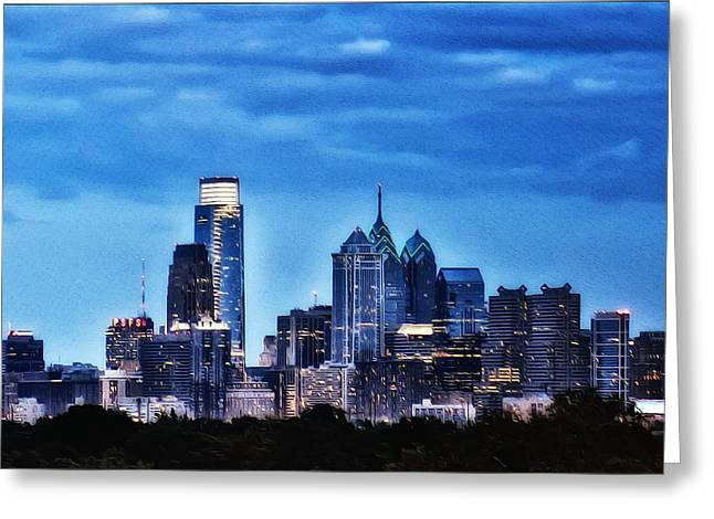 Philadelphia Digital Art Greeting Cards - Philadelphia at Night Greeting Card by Bill Cannon