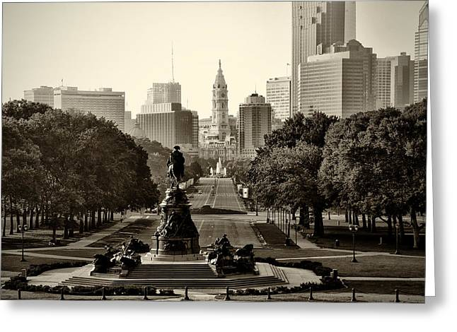 Fountain Greeting Cards - Philadelphia Benjamin Franklin Parkway in Sepia Greeting Card by Bill Cannon