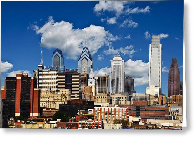 Philadelphia Blue Skies Greeting Card by Bill Cannon