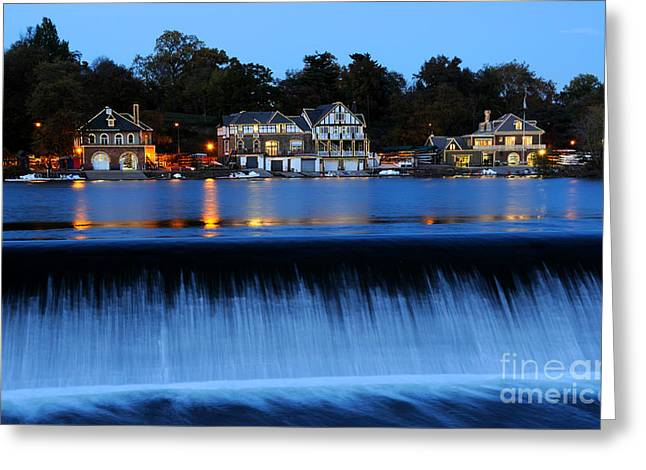 Blue Hour Greeting Cards - Philadelphia Boathouse Row at Twilight Greeting Card by Gary Whitton