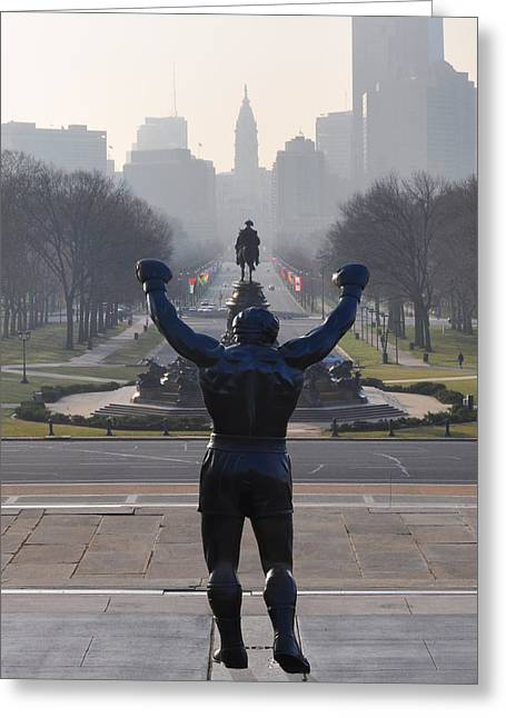 Stallone Digital Art Greeting Cards - Philadelphia Champion - Rocky Greeting Card by Bill Cannon