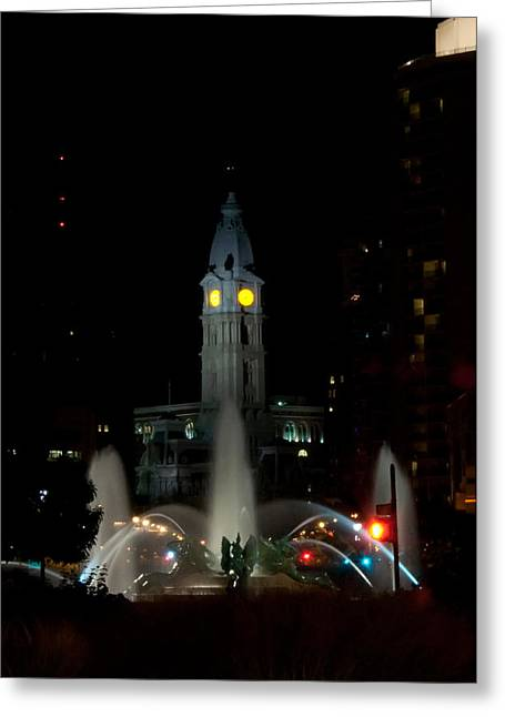 Philadelphia Digital Art Greeting Cards - Philadelphia City Hall and Swann Fountain at Night Greeting Card by Bill Cannon