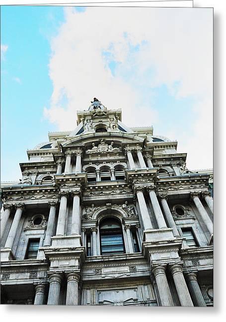 Philadelphia Digital Art Greeting Cards - Philadelphia City Hall -Looking Up Greeting Card by Bill Cannon