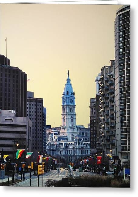 Cityhall Greeting Cards - Philadelphia Cityhall at Dawn Greeting Card by Bill Cannon