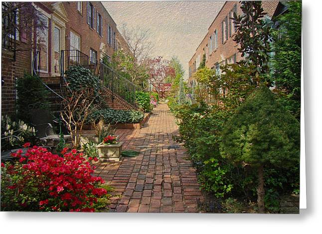 Phillie Photographs Greeting Cards - Philadelphia Courtyard - Symphony of Springtime Gardens Greeting Card by Mother Nature