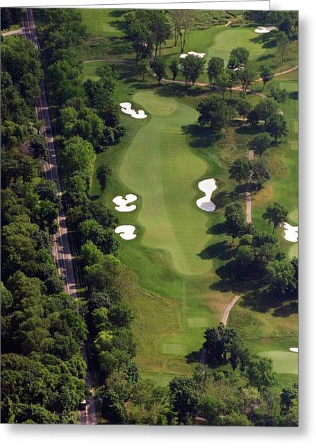 Cricket Aerial Greeting Cards - Philadelphia Cricket Club Militia Hill Golf Course 12th Hole Greeting Card by Duncan Pearson