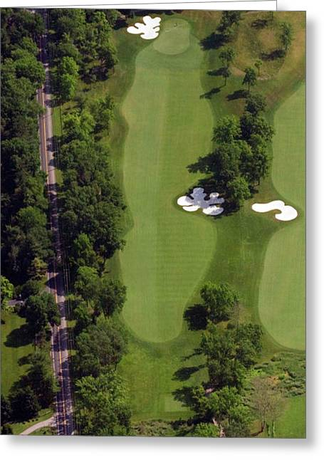 Cricket Aerial Greeting Cards - Philadelphia Cricket Club Militia Hill Golf Course 13th Hole Greeting Card by Duncan Pearson