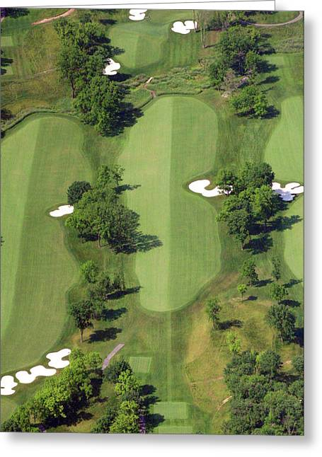 Cricket Aerial Greeting Cards - Philadelphia Cricket Club Militia Hill Golf Course 14th Hole Greeting Card by Duncan Pearson