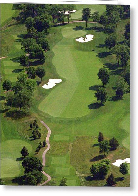 Cricket Aerial Greeting Cards - Philadelphia Cricket Club Militia Hill Golf Course 16th Hole 2 Greeting Card by Duncan Pearson