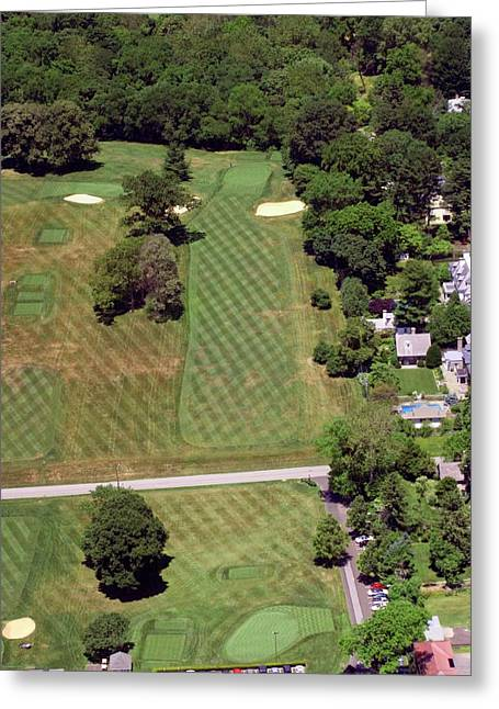 Cricket Aerial Greeting Cards - Philadelphia Cricket Club St Martins Golf Course 1st Hole 415 W Willow Grove Avenue Phila PA 19118 Greeting Card by Duncan Pearson