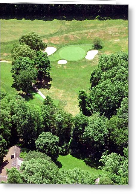 Cricket Aerial Greeting Cards - Philadelphia Cricket Club St Martins Golf Course 5th Hole 415 W Willow Grove Ave Phila PA 19118 Greeting Card by Duncan Pearson