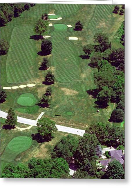 Cricket Aerial Greeting Cards - Philadelphia Cricket Club St Martins Golf Course 7th Hole 415 W Willow Grove Ave Phila PA 19118 Greeting Card by Duncan Pearson