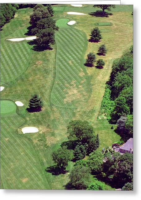 Cricket Aerial Greeting Cards - Philadelphia Cricket Club St Martins Golf Course 8th Hole 415 W Willow Grove Ave Phila PA 19118 Greeting Card by Duncan Pearson