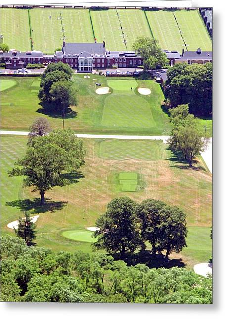Cricket Aerial Greeting Cards - Philadelphia Cricket Club St Martins Golf Course 9th Hole 415 W Willow Grove Ave Phila PA 19118 Greeting Card by Duncan Pearson