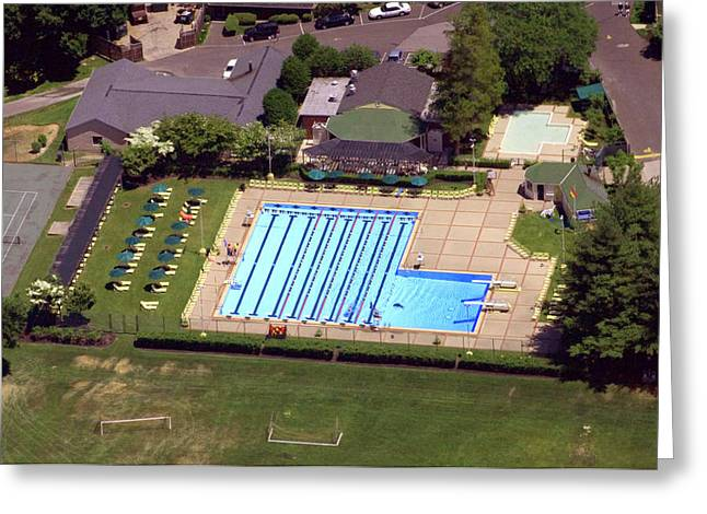 Cricket Aerial Greeting Cards - Philadelphia Cricket Club St Martins Pool 415 West Willow Grove Avenue Philadelphia PA 19118 4195 Greeting Card by Duncan Pearson