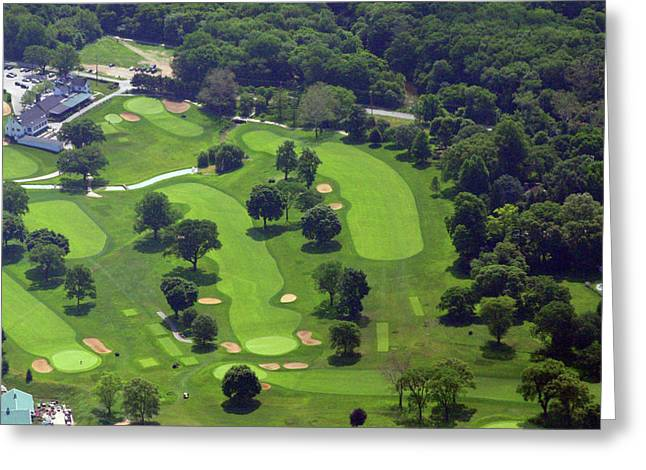 Cricket Aerial Greeting Cards - Philadelphia Cricket Club Wissahickon Golf Course 1st and 18th Holes Greeting Card by Duncan Pearson