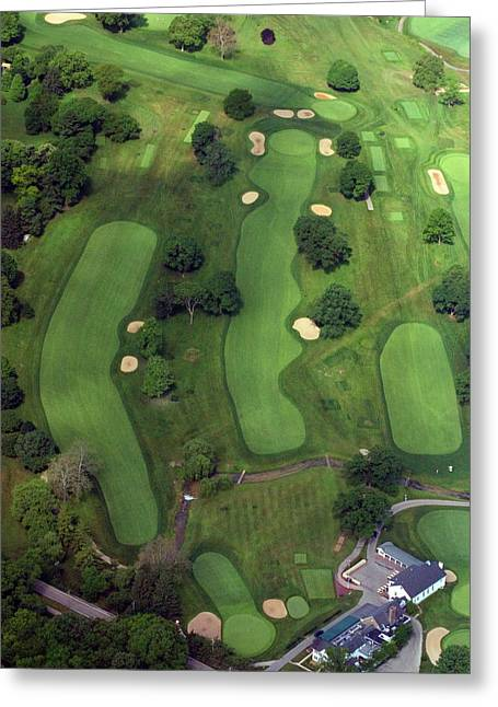 Cricket Aerial Greeting Cards - Philadelphia Cricket Club Wissahickon Golf Course 1st Hole Greeting Card by Duncan Pearson