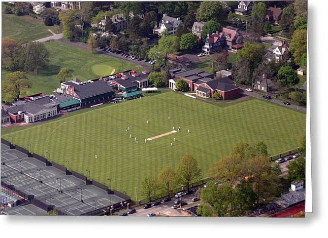 Cricket Aerial Greeting Cards - Philadelphia International Cricket Festival PCC Greeting Card by Duncan Pearson
