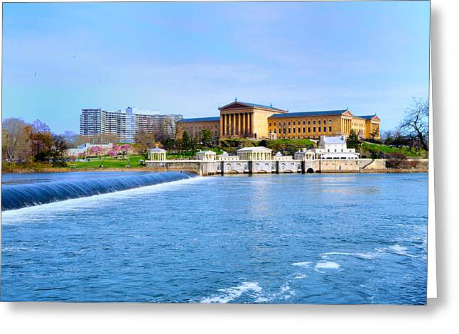 Philadelphia Museum of Art and the Philadelphia Waterworks Greeting Card by Bill Cannon