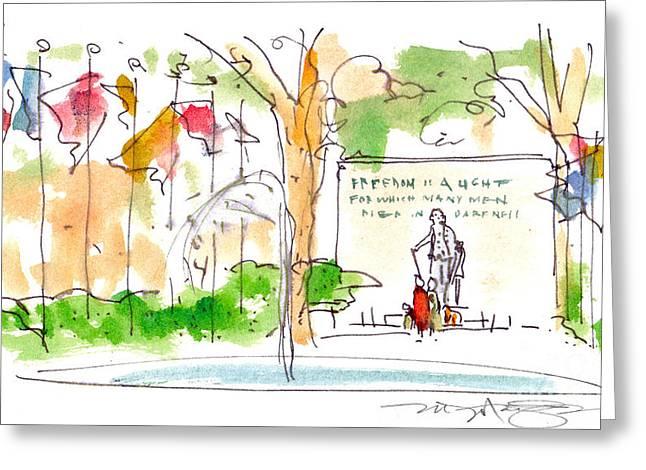 Park Scene Drawings Greeting Cards - Philadelphia Park Greeting Card by Marilyn MacGregor