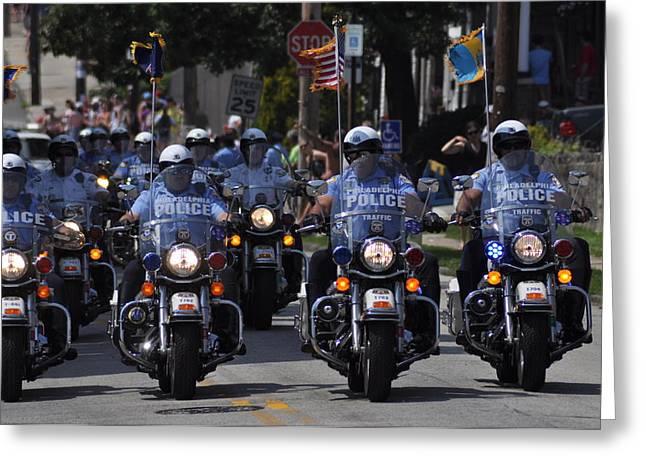 Police Motorcycles Greeting Cards - Philadelphia Police Motorcycle Unit Greeting Card by Bill Cannon