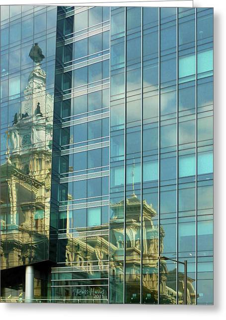 Glass Building Greeting Cards - Philadelphia Reflections Greeting Card by Russ Harris