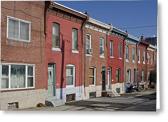 Philadelphia Row Houses Greeting Card by Brendan Reals