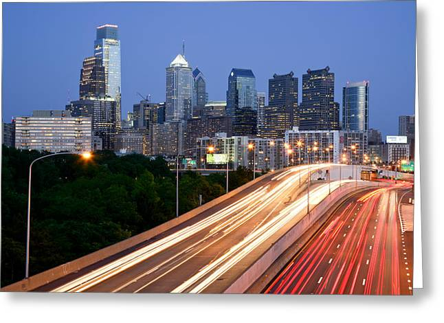 Philadelphia Street Greeting Cards - Philadelphia Skyline Night Greeting Card by Binh Ly