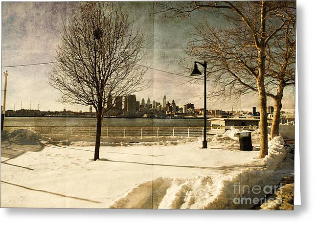 Winter Prints Greeting Cards - Philadelphia SnowScape Greeting Card by Milton Brugada