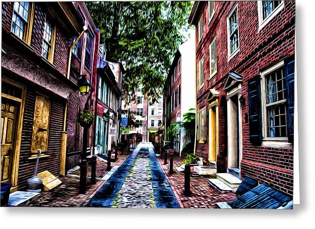 Philly Digital Art Greeting Cards - Philadelphias Elfreths Alley Greeting Card by Bill Cannon
