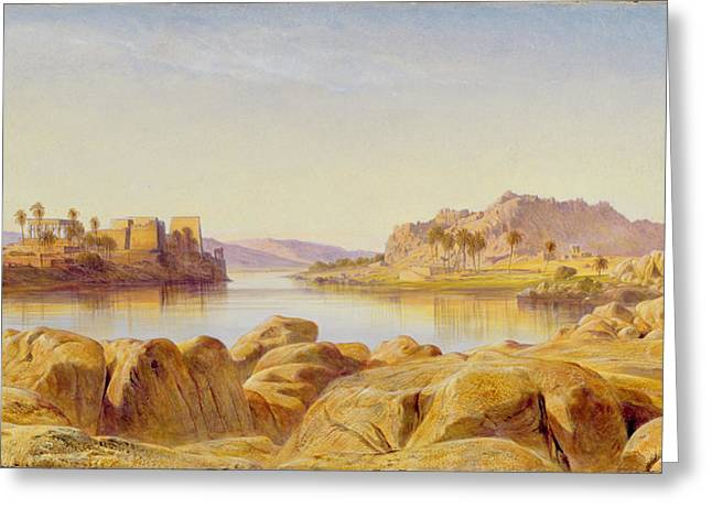 Rock Island Greeting Cards - Philae - Egypt Greeting Card by Edward Lear