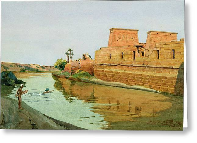 Temple West Greeting Cards - Philae on the Nile Greeting Card by Alexander West