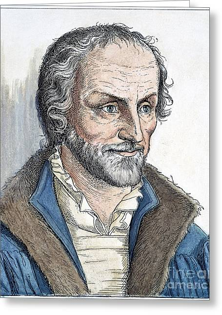 Reformer Greeting Cards - PHILIPP MELANCHTHON (1497-1560). German scholar and religious reformer: line engraving, German, 19th century Greeting Card by Granger