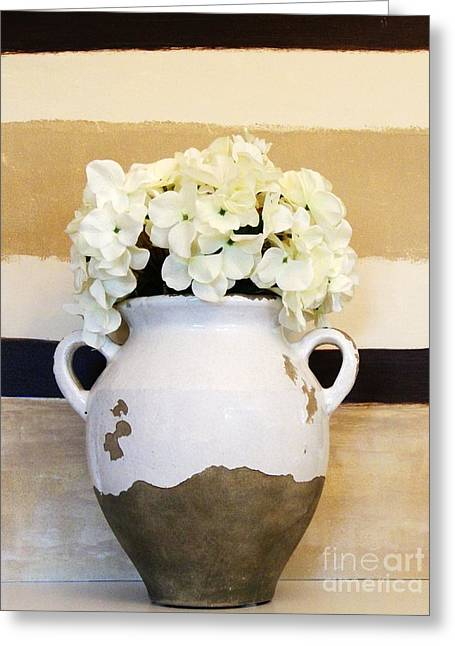 Floral Photos Greeting Cards - Philippian Pottery with Hydrangea Greeting Card by Marsha Heiken