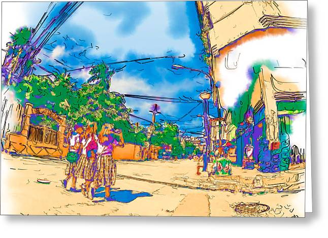 Uniforms Mixed Media Greeting Cards - Philippine School Girls in Uniform Greeting Card by Rolf Bertram