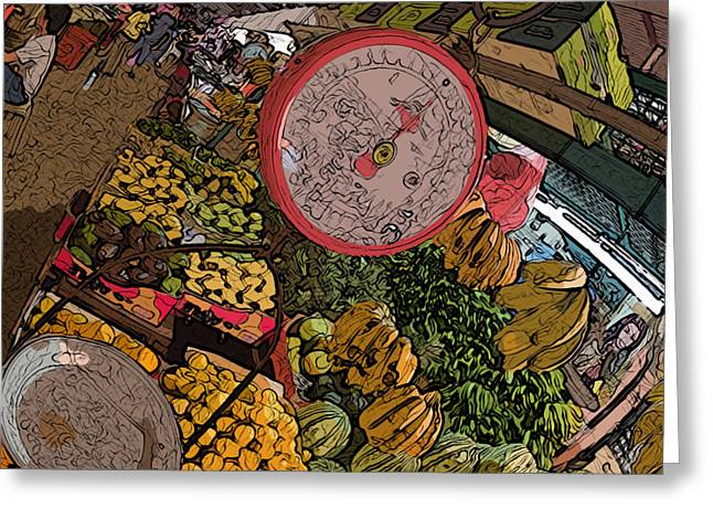 Philippines 2100 Food Market With Scale Greeting Card by Rolf Bertram