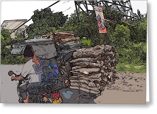Philippines 2797 Firewood Transportation Greeting Card by Rolf Bertram