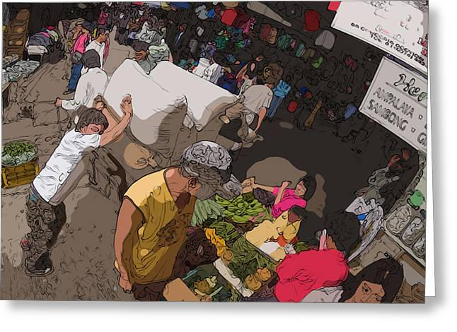 Philippines 2973 Busy Marketplace Greeting Card by Rolf Bertram
