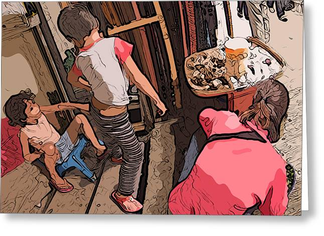 Philippines 2974 Mom With Two Kids In Market Greeting Card by Rolf Bertram