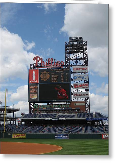 Citizens Bank Park Photographs Greeting Cards - Phillies Greeting Card by Jennifer  Sweet